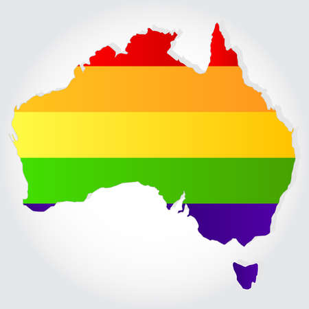 sex discrimination: Lgbt flag  in contour of australia with light grey background
