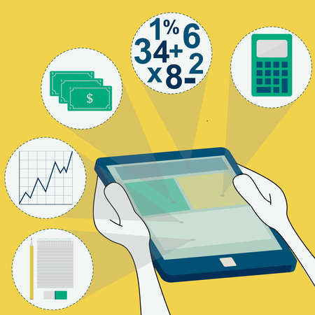 Symbols of accounting in tablet  money, notebook, pencil and eraser, graph, numbers, calculator  Surfing the tablet