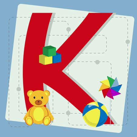 pinwheel toy: Letter  k  from stylized alphabet with children s  cubes toy, teddy bear, ball, pinwheel
