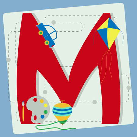 spinning top: Letter  m  from stylized alphabet with children s  kite, toy car, brush, watercolor, spinning top