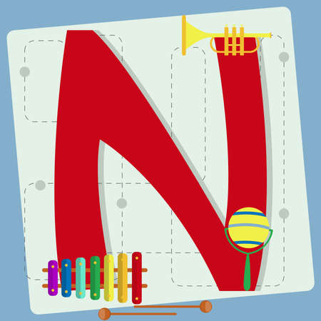 s horn: Letter  n  from stylized alphabet with children s  xylophone, instrument, toy horn, rattle