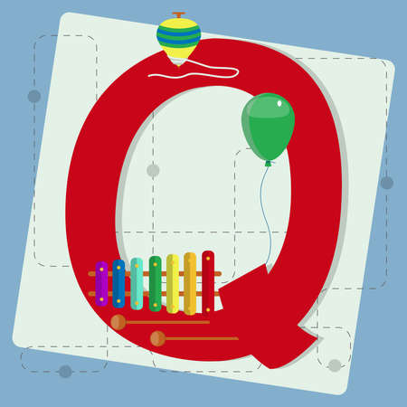 spinning top: Letter  q  from stylized alphabet with children s  balloon, xylophone, instrument, spinning top Illustration