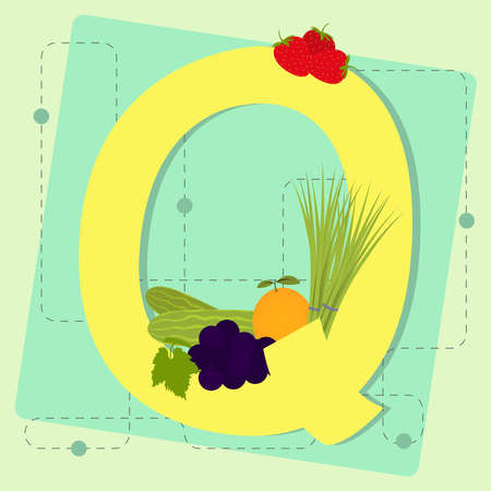 chive: Letter  q  from stylized alphabet with fruits and vegetables  grape, cucumber, orange, chive, strawberry