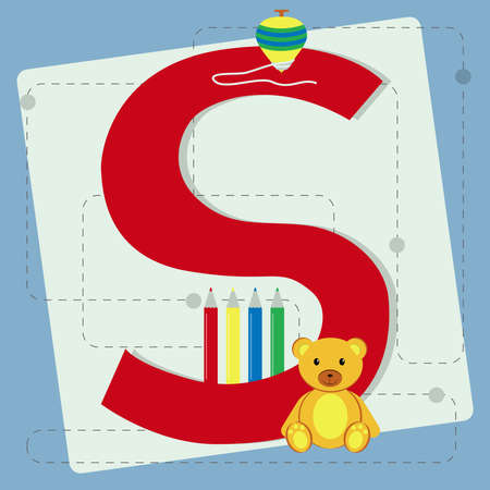 spinning top: Letter  s  from stylized alphabet with children s  teddy bear, colored pencils, crayons, spinning top