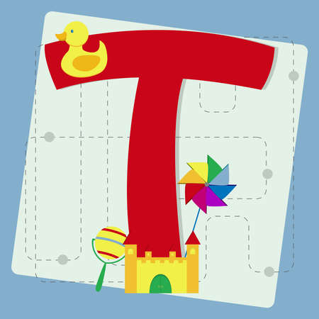 Letter  t  from stylized alphabet with children s  rattle, toy castle, rubber ducky, pinwheel Vector