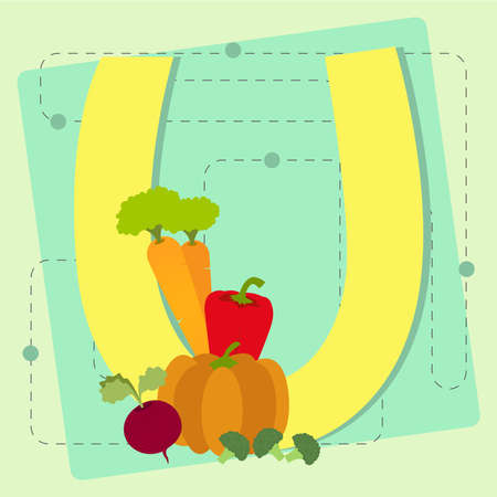 Letter  u  from stylized alphabet with fruits and vegetables  carrot, pumpkin, pepper, beet, broccoli Vector