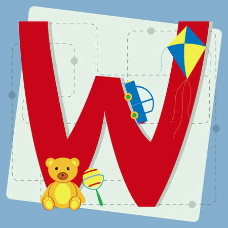 Letter  w  from stylized alphabet with children s  toy car, teddy bear, kite, rattle Vector