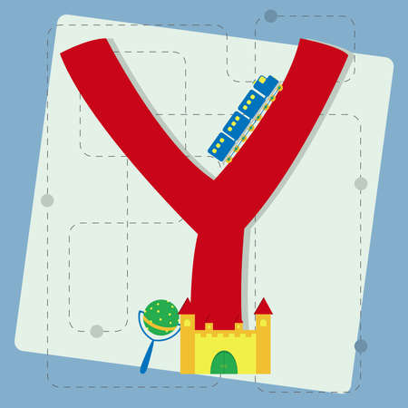 Letter  y  from stylized alphabet with children s  toy train, toy castle, rattle Vector