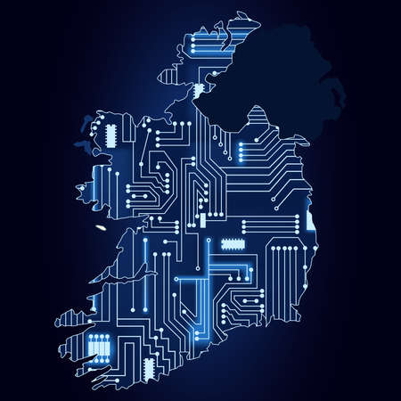 Contour map of Ireland with a technological electronics circuit