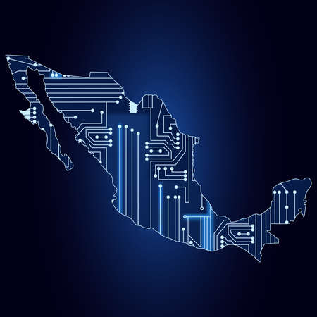Contour map of Mexico with a technological electronics circuit  Ilustracja