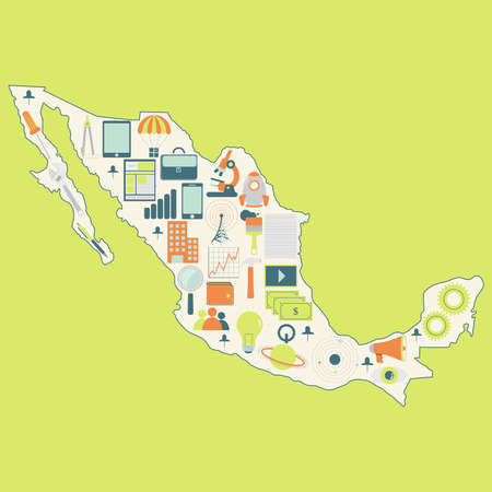 Contour map of Mexico with icons of technology, business, science, communication