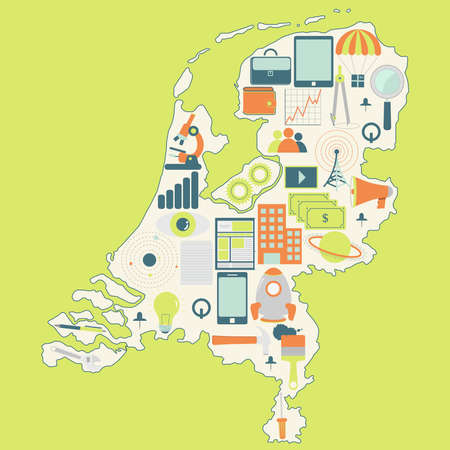 Contour map of Netherlands with icons of technology, business, science, communication