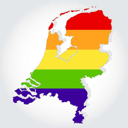 Lgbt flag in contour of Netherlands with light grey background Vector