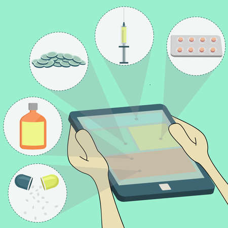 selecting remedies surfing on tablet  pills, syringe, drug  Surfing on tablet  Vector