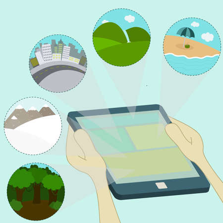Several choices of destinations browsing on the tablet  beach, waterfall, snow, forest  Surfing the tablet  Vector