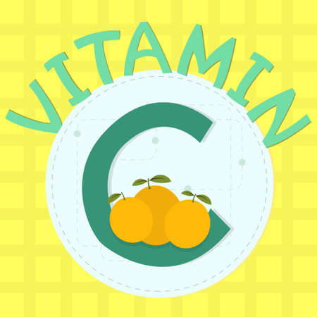 vitamin c: Colorful design of vitamin c with orange and  vitamin c  phrase
