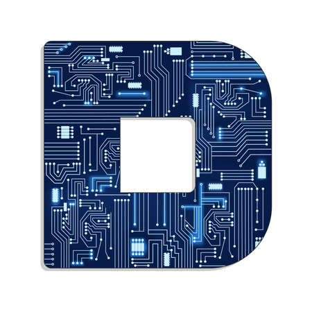 Letter  d  from technology s stylized alphabet with electronic circuit  Uppercase letter   イラスト・ベクター素材