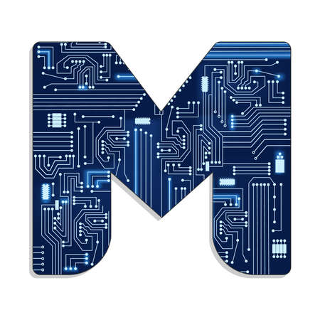 Letter  m  from technology s stylized alphabet with electronic circuit  Uppercase letter