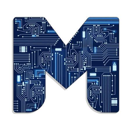circuito electronico: Letra m del alfabeto estilizada tecnolog�a s con circuito electr�nico letra may�scula
