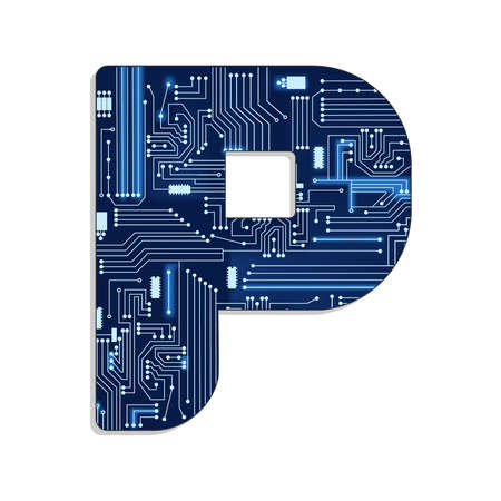 Letter  p  from technology s stylized alphabet with electronic circuit  Uppercase letter  Vector