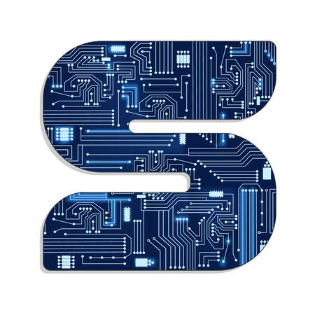 Letter  s  from technology s stylized alphabet with electronic circuit  Uppercase letter  Illustration