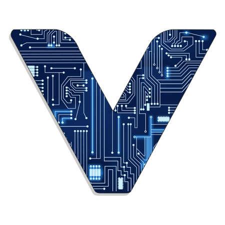 技術 s 様式化されたアルファベット大文字の電子回路からの手紙 v