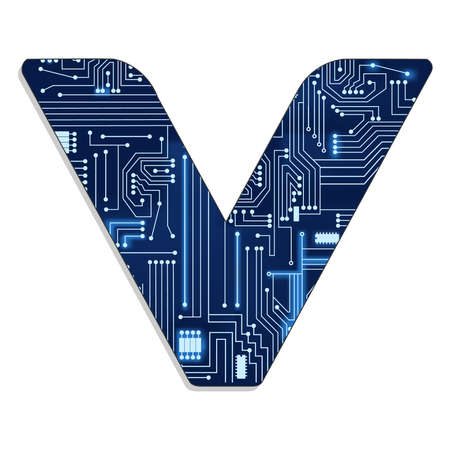 Letter  v  from technology s stylized alphabet with electronic circuit  Uppercase letter
