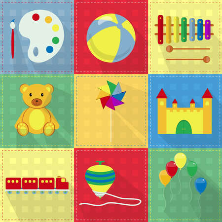 pinwheel toy: Nine colorful toy icons with watercolor, ball, xylophone, teddy bear, pinwheel, toy castle, toy train, spinning top and colorful balloons