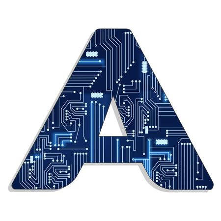 Letter  a  from technology s stylized alphabet with electronic circuit  Uppercase letter
