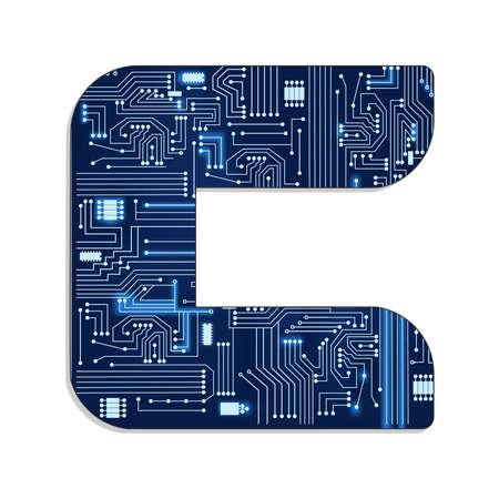 Letra c del alfabeto estilizada tecnología s con circuito electrónico letra mayúscula