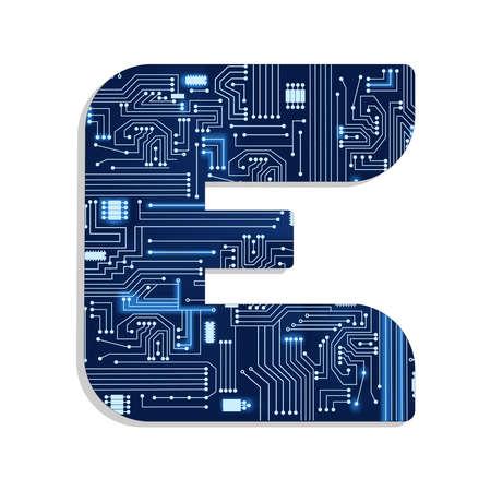 Brief e van de technologie en gestileerde alfabet met elektronische schakeling Hoofdletter Stock Illustratie