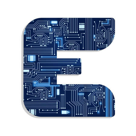 Letter  e  from technology s stylized alphabet with electronic circuit  Uppercase letter Reklamní fotografie - 30648180