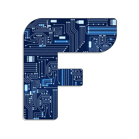Letter  f  from technology s stylized alphabet with electronic circuit  Uppercase letter