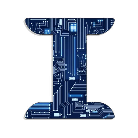 Letter  i  from technology s stylized alphabet with electronic circuit  Uppercase letter  Vector