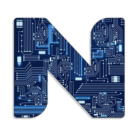 기술에서 편지 n 전자 회로와 양식에 일치시키는 알파벳 대문자 스톡 콘텐츠 - 30648186