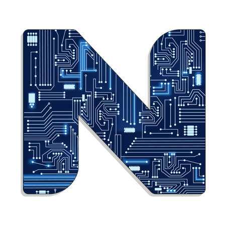 Letter  n  from technology s stylized alphabet with electronic circuit  Uppercase letter