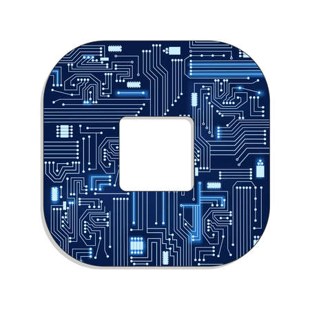 Letter  o  from technology s stylized alphabet with electronic circuit  Uppercase letter