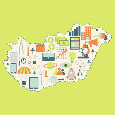 magyar: Contour map of Hungary with icons of technology, business, science, communication Illustration