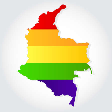 sex discrimination: Lgbt flag  in contour of Colombia with light grey background