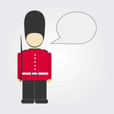 London guard with comic ballon  Isolated  Copy space  Vector