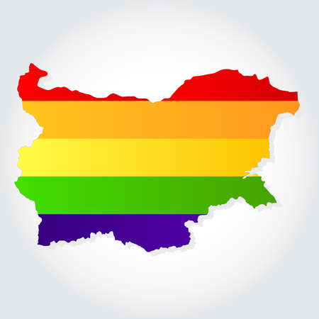 homosexual sex: Lgbt flag  in contour of Bulgaria with light grey background  Rainbow flag in contour of Bulgaria  Illustration