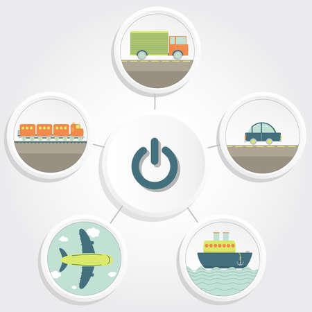 Diversi mezzi di trasporto e un pulsante on e off camion, auto, nave, aereo, treno