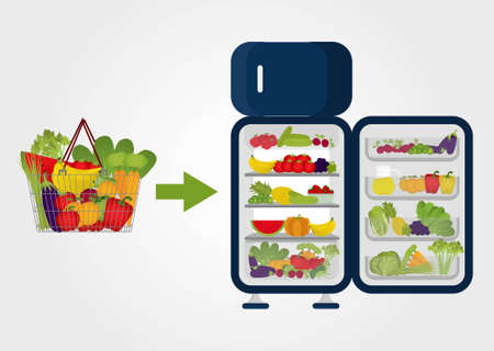 fridge: Grocery basket full of fruits and vegetables and arrow pointing to the fridge full of fruits and vegetables  Purchases  Preserving food  No meat and no dairy products  Illustration