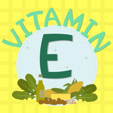 Conception colorée de la vitamine e avec des céréales, les légumes à feuilles, l'huile d'olive, les amandes, l'huile, le beurre, le maïs et la vitamine c phrase