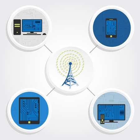 Various electronic equipment connected by wireless signal from an antenna  Personal computer, tablet, smarthphone, smart tv  Vector