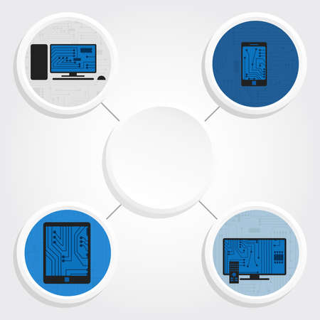 Icons of electronics equipment around a empty and white circle for writing text Vector
