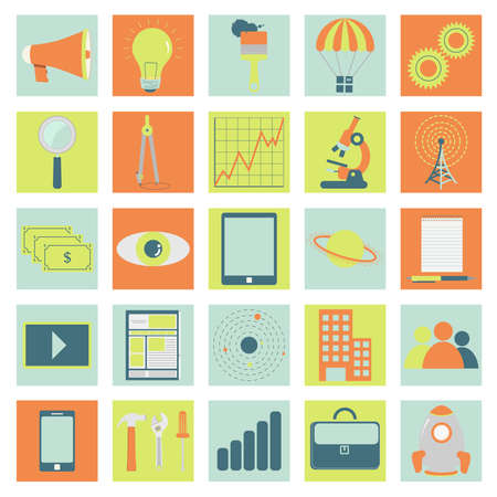 Icons of technology, business and science with symbols like microscope, brush, notepad, planet, graphic, executive folder, tools, tablet, smarthphone, antenna, money, gear, rocket, magnifying glass, compass