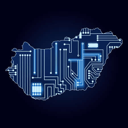 magyar: Contour map of Hungary with a technological electronics circuit  Illustration