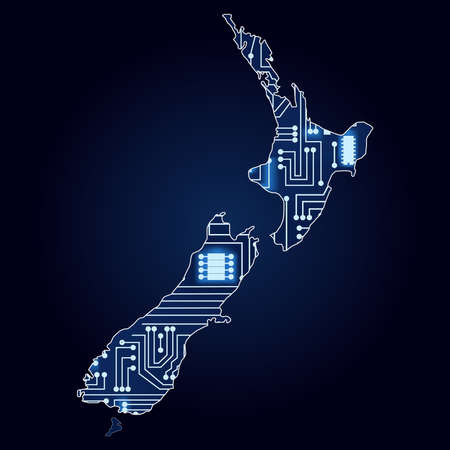 Contour map of New Zealand with a technological electronics circuit