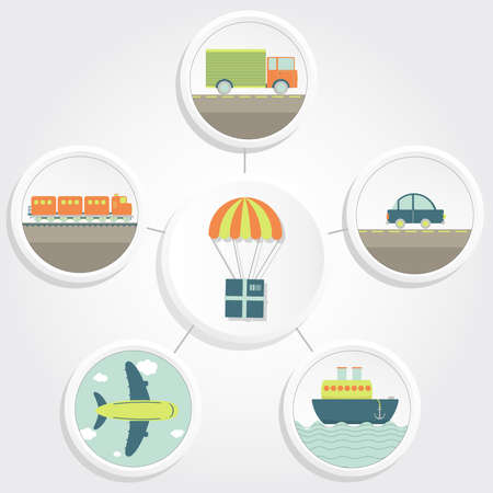 commodity: Means of transport and a parachute carrying a package representing delivery  Truck, plane, car, ship, train  Illustration